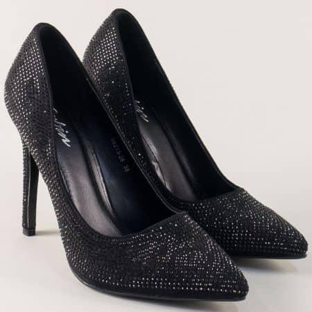 Дамски обувки с камъни на висок ток в черен цвят 98273ch