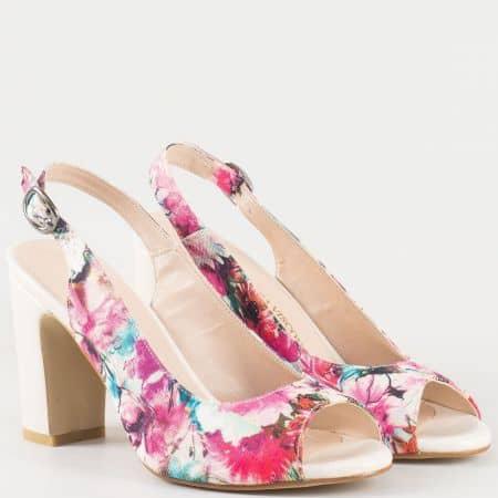 Бежови дамски сандали с флорален принт на стабилен висок ток 985bjps