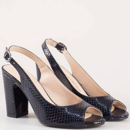 Лачени дамски сандали на висок ток в тъмносин цвят със змийски принт 985zs
