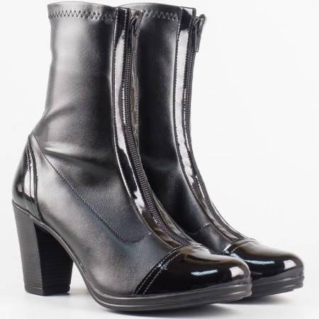 Дамски ежедневни боти в комбинация от стреч кожа и еко лак в черен цвят 99636150chlch