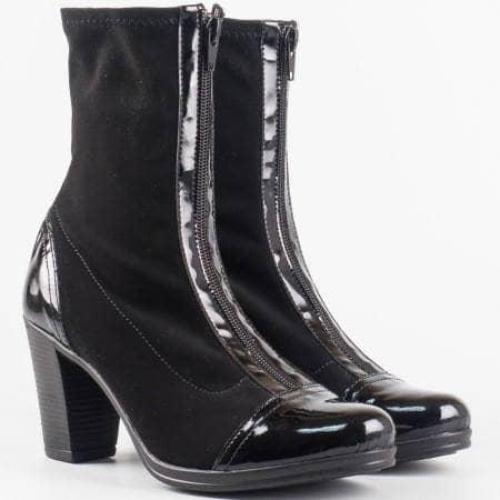 Дамски черни боти от стреч материал и еко лак на висок ток  99636150nchlch