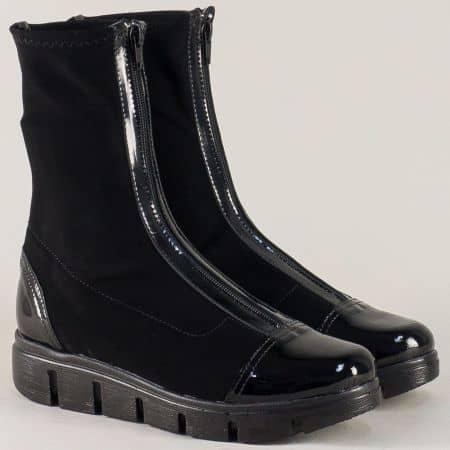 Черни дамски боти на български производител на модерна и лека платформа 996382nch