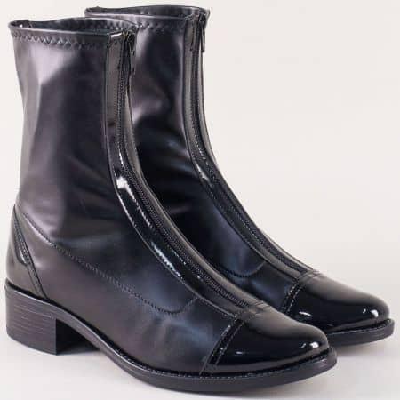 Ежедневни дамски боти на нисък ток в черен цвят 9965555chlch
