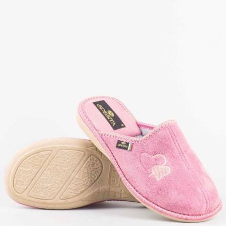 Дамски пантофи  Spesita  с комфортно ходило с бродерия сърчица в  розов  цвят lidiarz