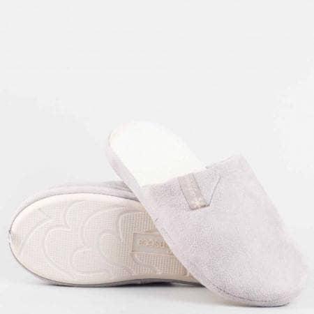 Дамски домашни чехли с меко и удобно ходило от висококачествен текстил в сив цвят  violedi65sv