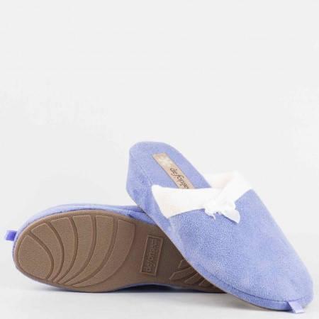 Домашни дамски пантофи  тип чехли  на удобно ходило от висококачествен  текстил в син цвят violedi70l