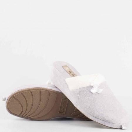 Домашни дамски пантофи  тип чехли  на удобно ходило от висококачествен текстил в сив цвят violedi70sv
