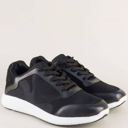 Черни мъжки маратонки с връзки на комфортно ходило a01ch