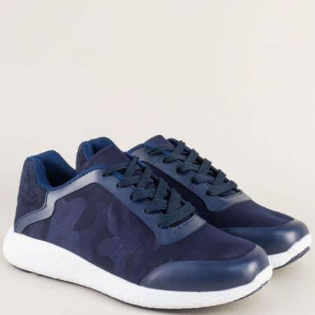 Мъжки маратонки в тъмно син цвят с връзки a01s