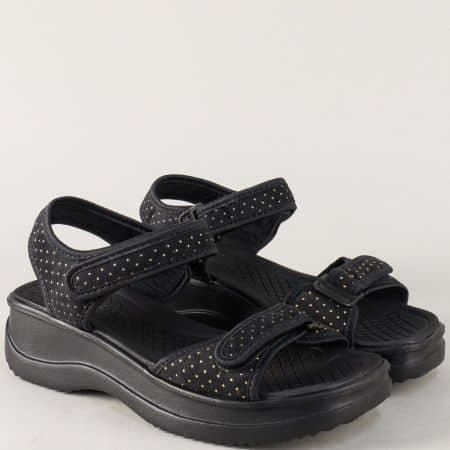 Дамски сандали с две лепки в черен цвят на платформа a320321ch