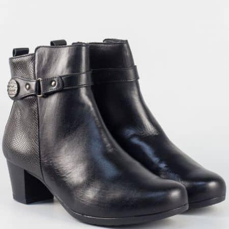 Дамски боти ALPINA в черно от естествена кожа на среден ток  a7321ch