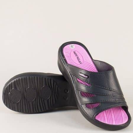 Дамски джапанки в черен и розов цвят на комфортно ходило a791-40chrz