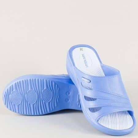 Дамски джапанки на равно ходило в бял и син цвят a791-40s