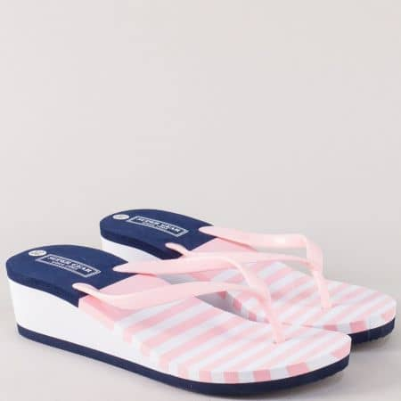 Дамски джапанки на платформа в бяло, розово и синьо a836rz