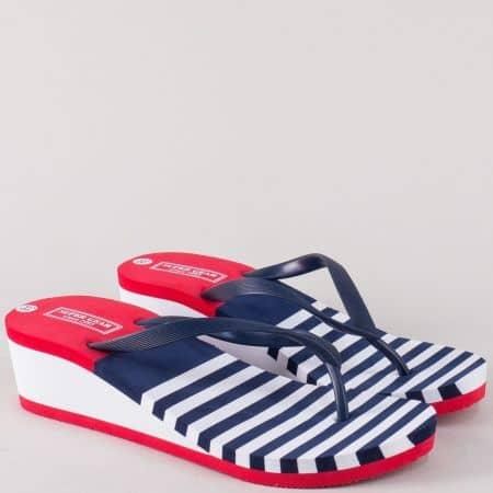 Дамски джапанки между пръстите в бяло, синьо и червено a836s