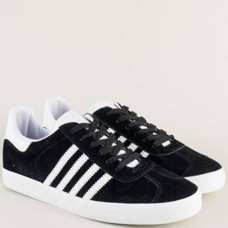 Спортни мъжки обувки на равно ходило в черен цвят ag11ch