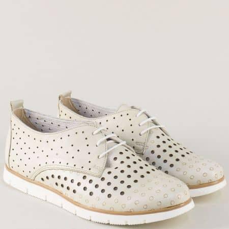 Бежови дамски обувки със стелка от естествена кожа amina1062bj