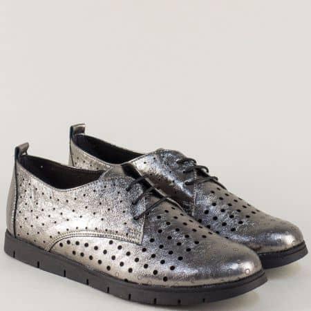 Бронзови обувки с перфорация на равно ходило с връзки amina1062brz