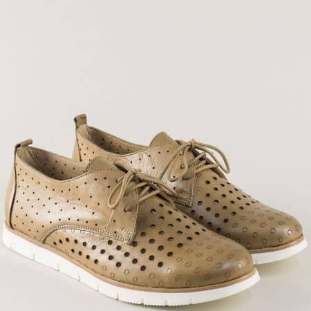 Дамски обувки от кафява естествена кожа с перфорация amina1062k
