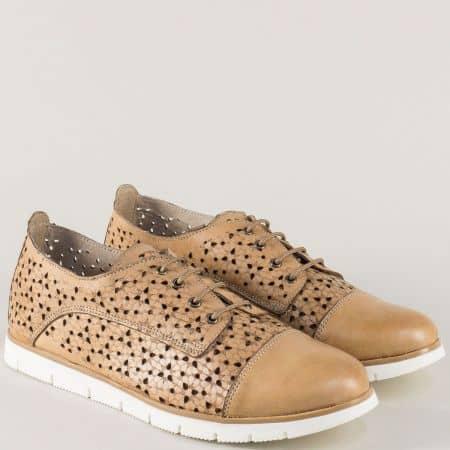 Равни дамски обувки от кафява естествена кожа- Nota Bene amina983ak