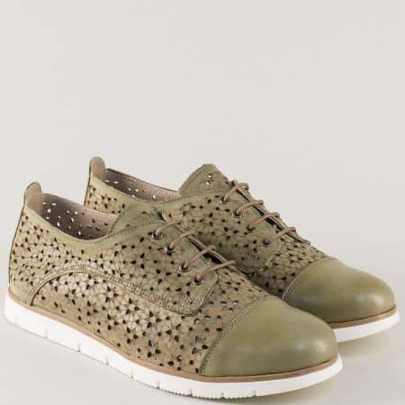 Зелени дамски обувки на равно ходило с кожена стелка amina983az