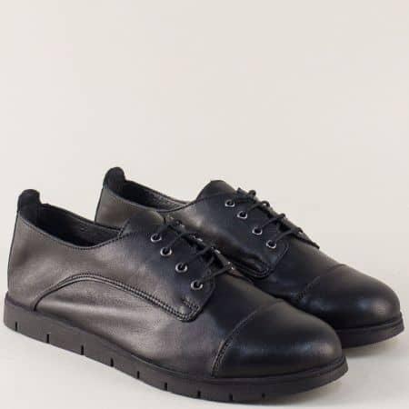 Дамски обувки с връзки от черна естествена кожа amina983ch