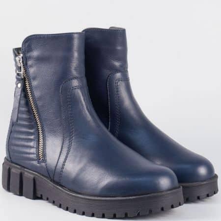Модерни дамски боти на платформа- Nota Bene от синя естествена кожа astra1022s
