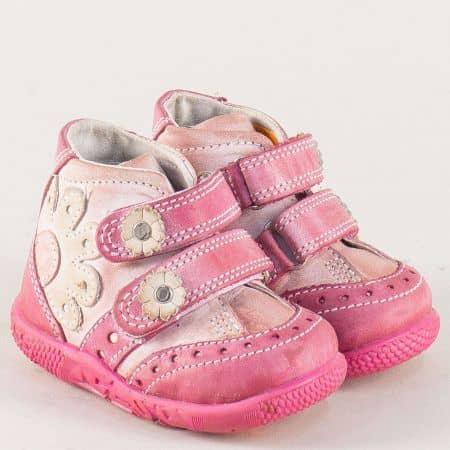 Кожени детски боти с две лепки в розов цвят- Kapchitsа  b011rz