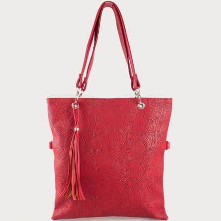 Дамска чанта за всеки ден с атрактивна визия и две дръжки на български производител в червено ch1020dchv