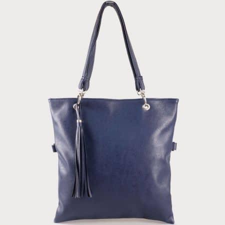 Дамска изчистена чанта с две дръжки - къса и дълга и пискюл на български производител в син цвят ch1020s
