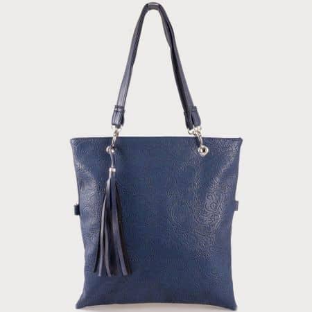Дамска ежедневна чанта с две дръжки - дълга и къса и пискюл на известен български производител в син цвят ch1020ds