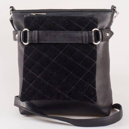 Дамска семпла чанта за всеки ден на български производител в черен цвят ch1046vch