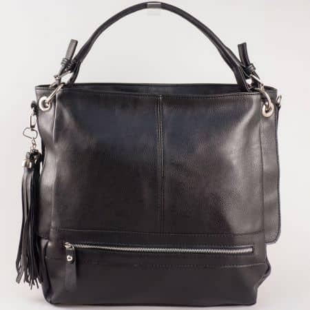 Дамска атрактивна чанта за всеки ден с младежки дизайн на български производител в черен цвят ch1053ch