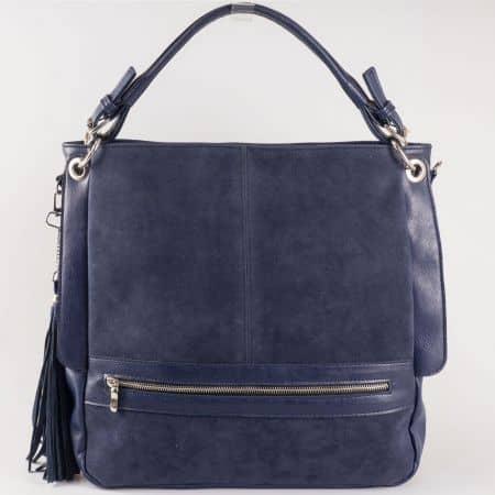 Дамска атрактивна чанта с младежка визия на български производител в синьо ch1053s