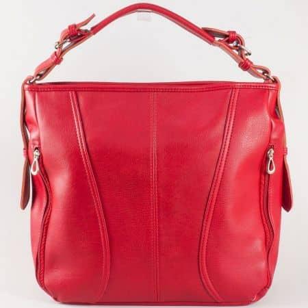 Дамска чанта за всеки ден с две дръжки - дълга и къса на български производител в червен цвят ch1054chv