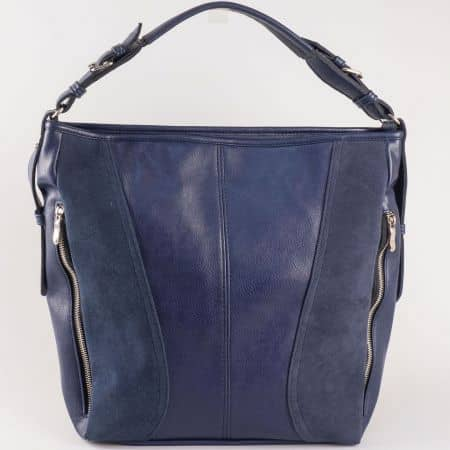 Дамска атрактивна чанта за всеки ден с две дръжки на български производител в синьо ch1054s
