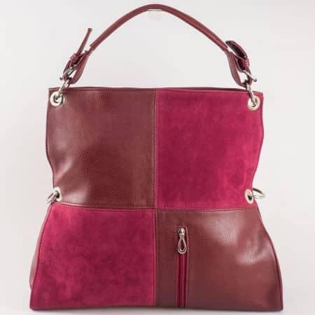 Дамска чанта за всеки ден с две дръжки - къса и дълга на известен български производител в цвят бордо ch1057bd