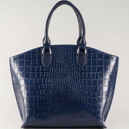 Синя дамска чанта с ефектен кроко принт на български производител ch1175krs