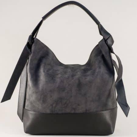 Черна дамска чанта с интересен дизайн и три практични прегради ch1203ch