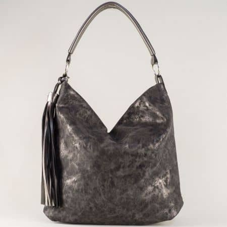 Ефектна дамска чанта с къса и допълнителна дълга дръжка и модерен пискюл ch1205brz