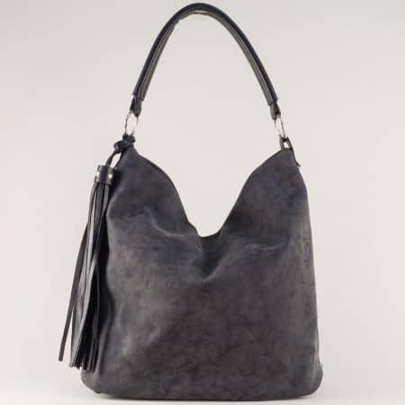 Черна дамска чанта с три прегради и удобни дръжки ch1205ch