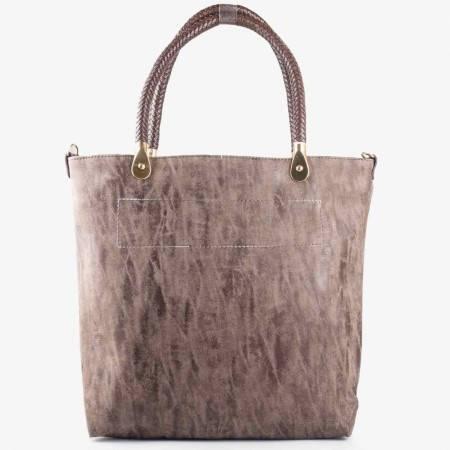 Стилна дамска чанта за всеки ден в кафяв цвят с модерен трит ефект ch1235kk