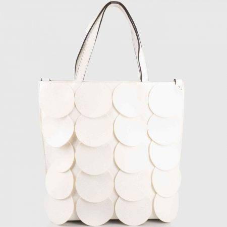 Бяла дамска чанта на кръгчета с удобни дръжки ch1237b
