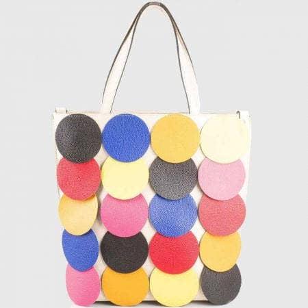 Дамска чанта с пъстри цветни кръгове с две къси и допълнителна дълга дръжка ch1237bjps