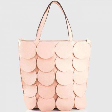Розова дамска чанта с кръгчета на български производител ch1237rz