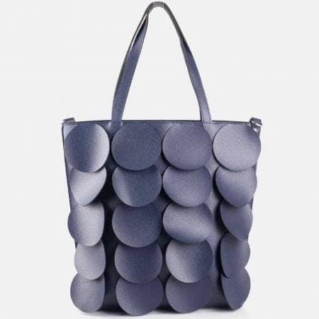Дамска атрактивна чанта с интересни кръгчета на известен български произвоидетл в син цвят ch1237s