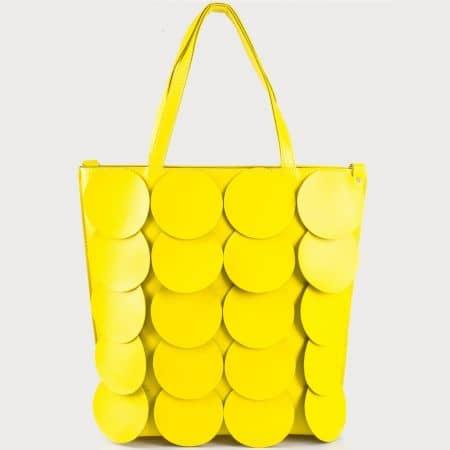 Жълта дамска чанта с кожени кръгчета на българска фирма ch1237svj
