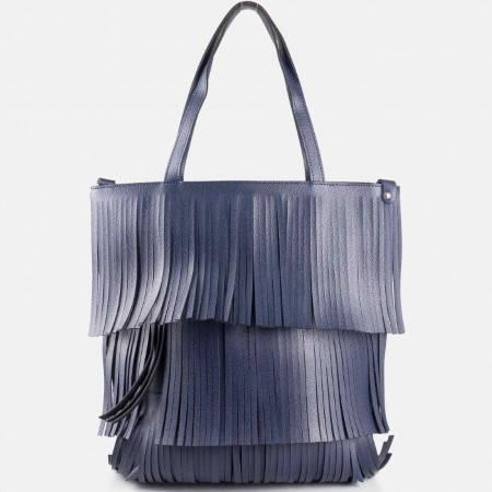 Дамска стилна чанта с ефектна визия на български производител в син цвят ch1238s