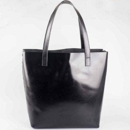 Дамска елегантна чанта изработена от висококачествена естествена кожа в черен цвят ch1441ch