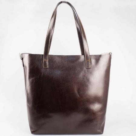 Дамска елегантна чанта произведена от висококачествена естествена кожа в кафяв цвят ch1441kk